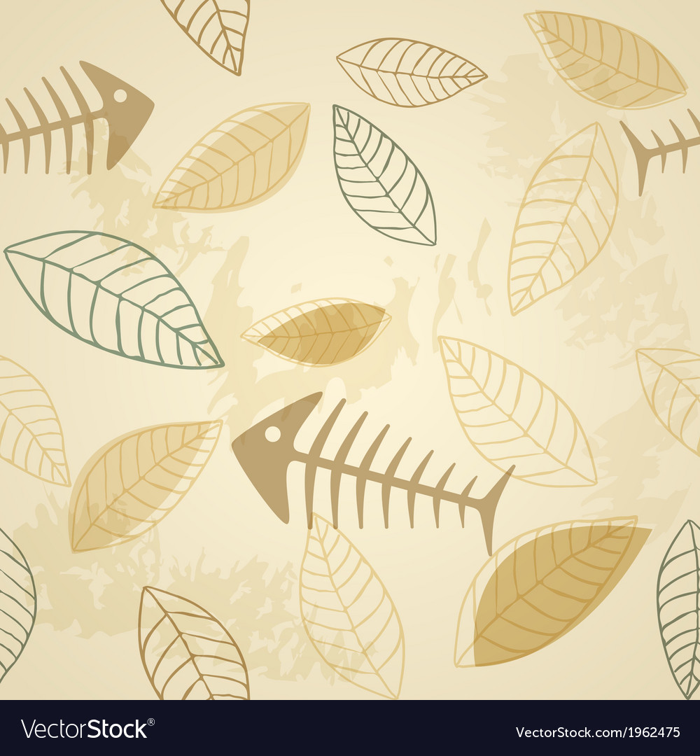 Fish and plant seamless pattern
