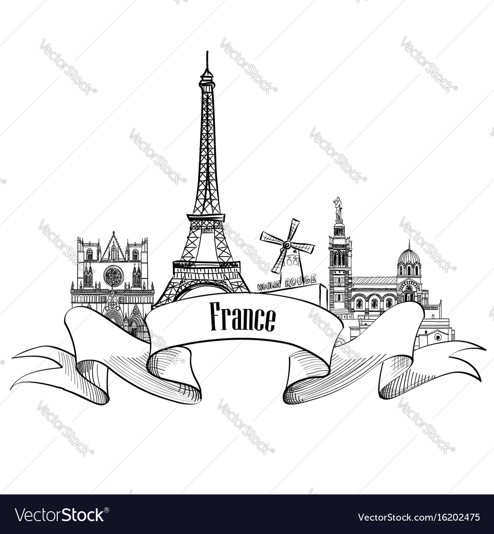 France label famous french landmark set travel