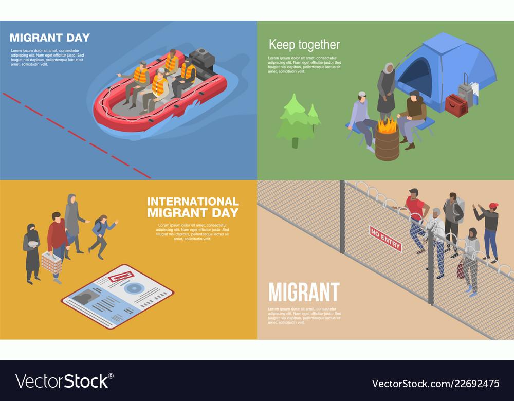 Migrant refugee banner set isometric style