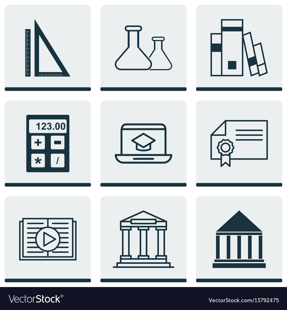 Set of 9 school icons includes distance learning