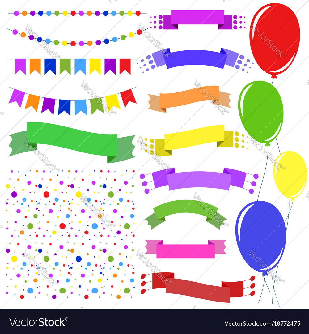 Set of flat colored insulated garlands confetti