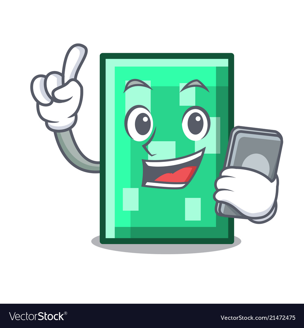 With Phone Rectangle Character Cartoon Style Vector Image