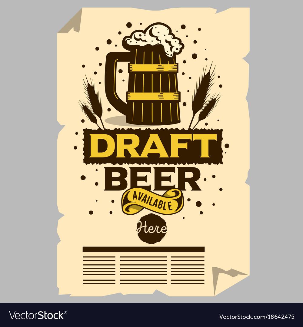 Wooden Mug Of Draft Beer Poster Flyer Vector Image