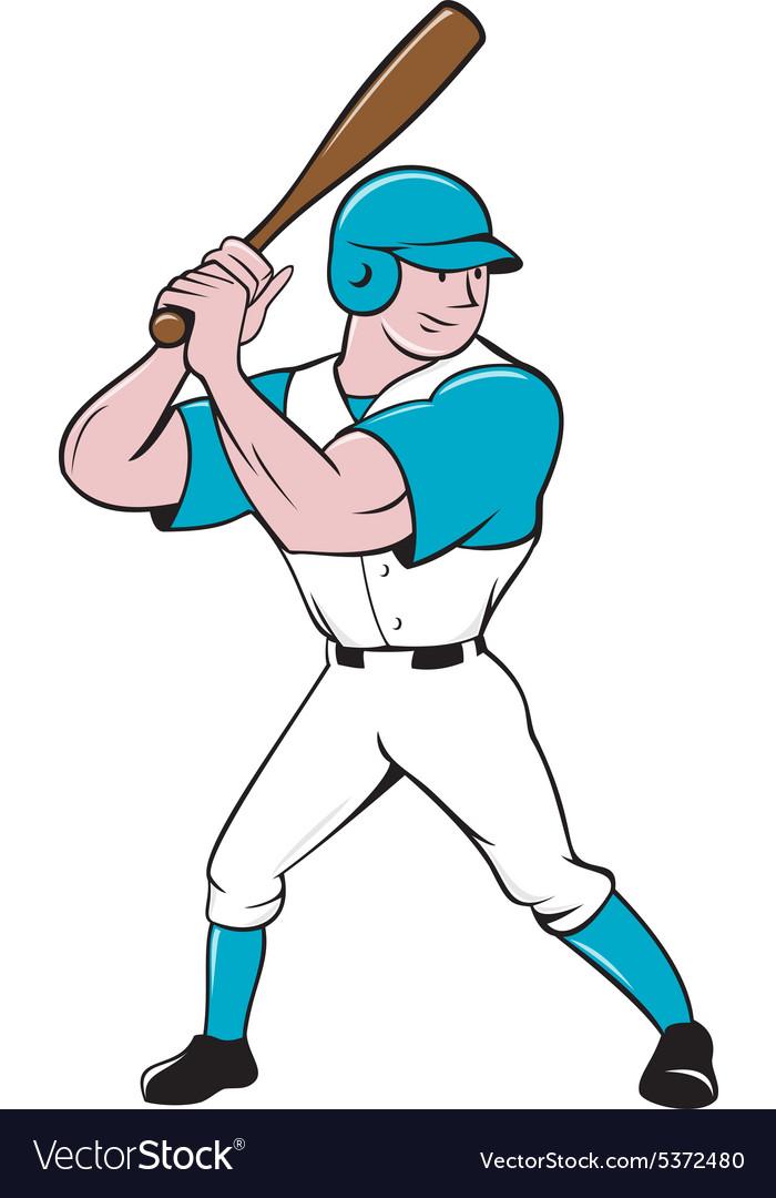 Baseball Player Batting Stance Isolated Cartoon