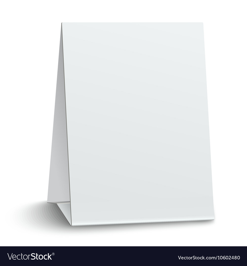 Blank paper table card isolated on white