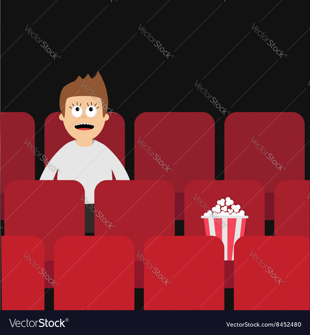 Cartoon Man Boy Character Sitting In Movie Theater