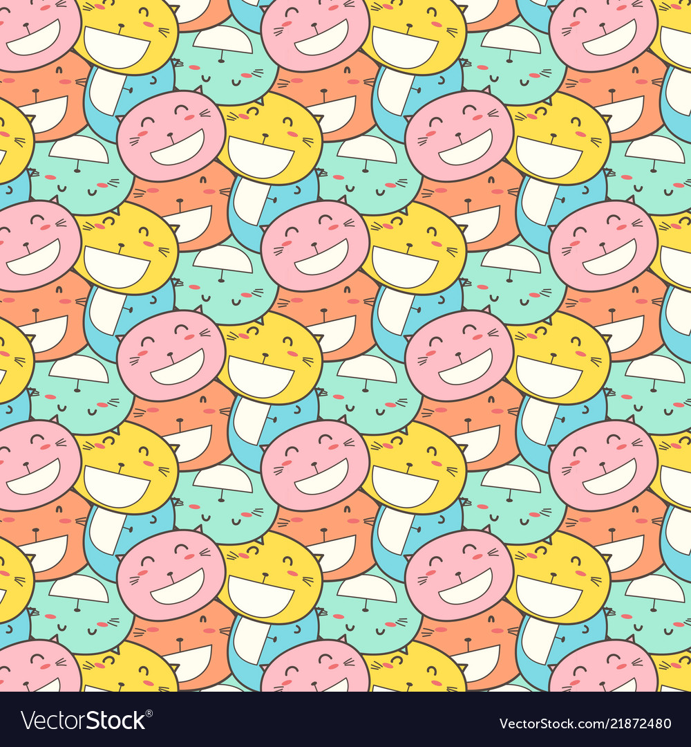 Cat smile pattern background