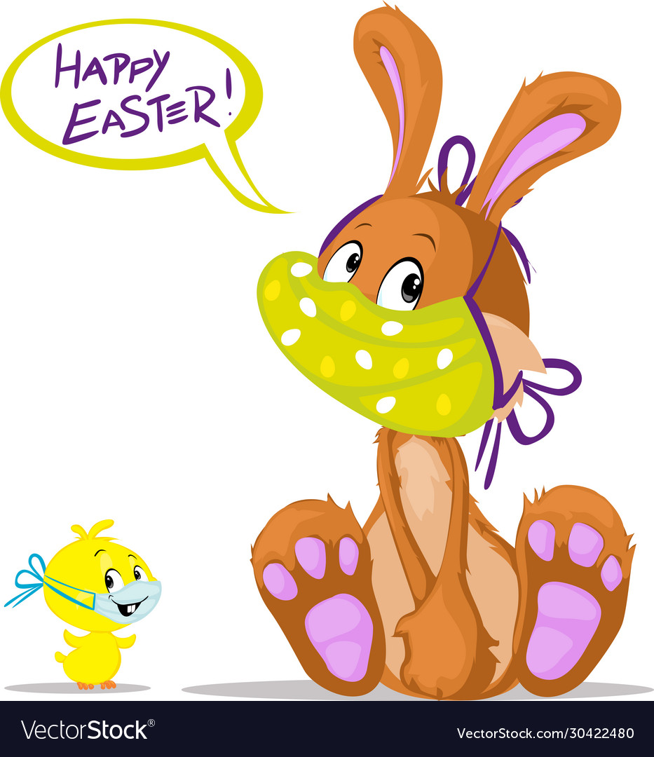 Cute bunny and chicken wish you happy easter
