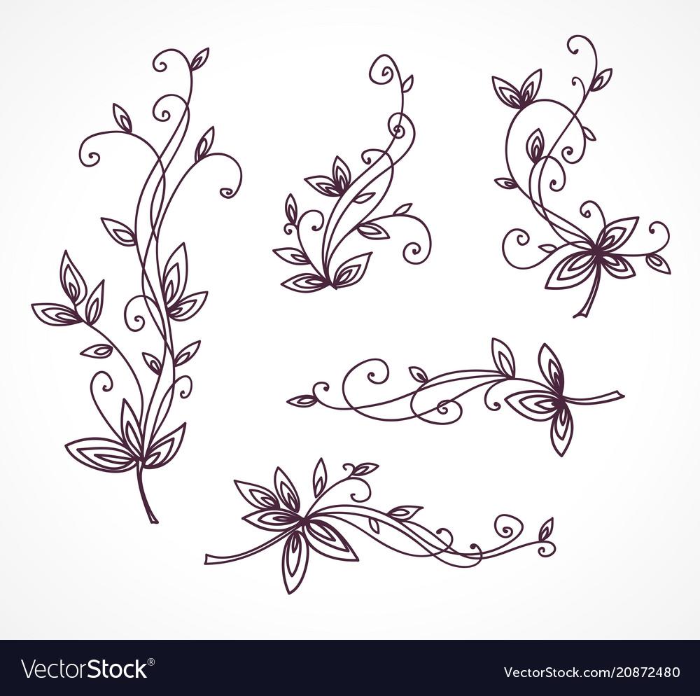 Floral decorative set for design