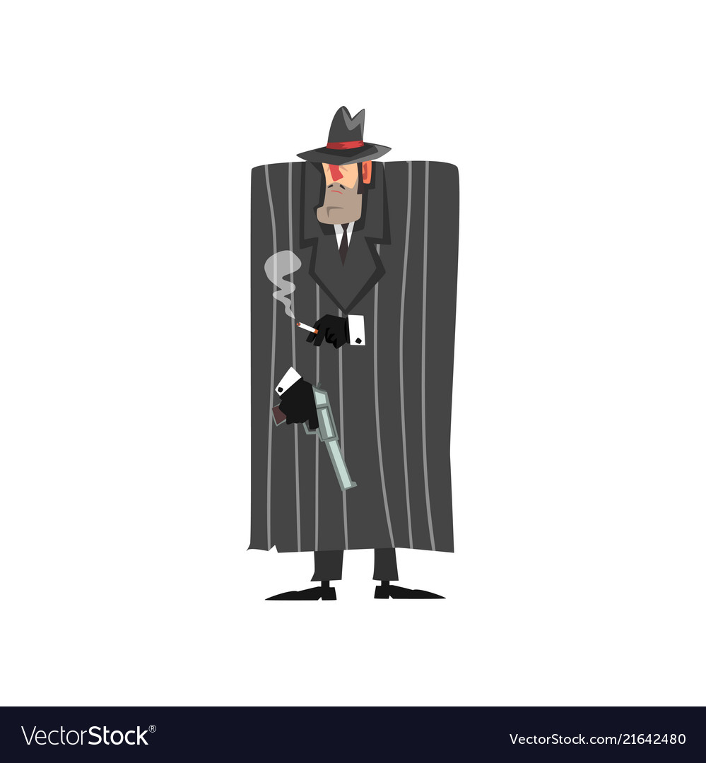 Gangster criminal character in black coat and