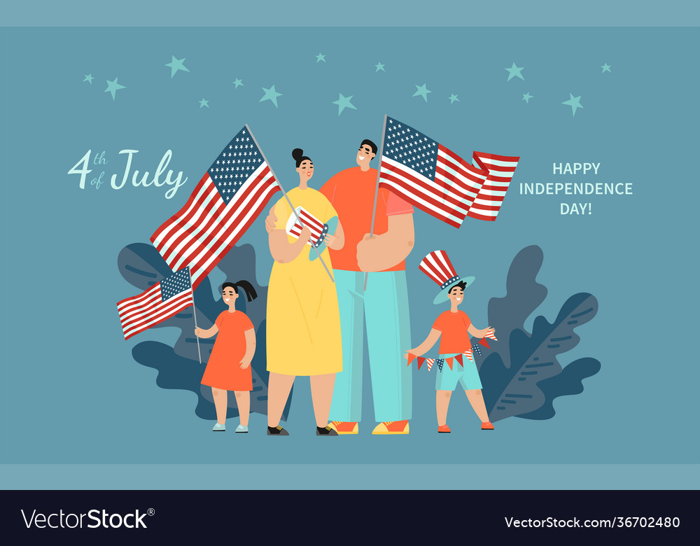 Happy family with two children standing with usa
