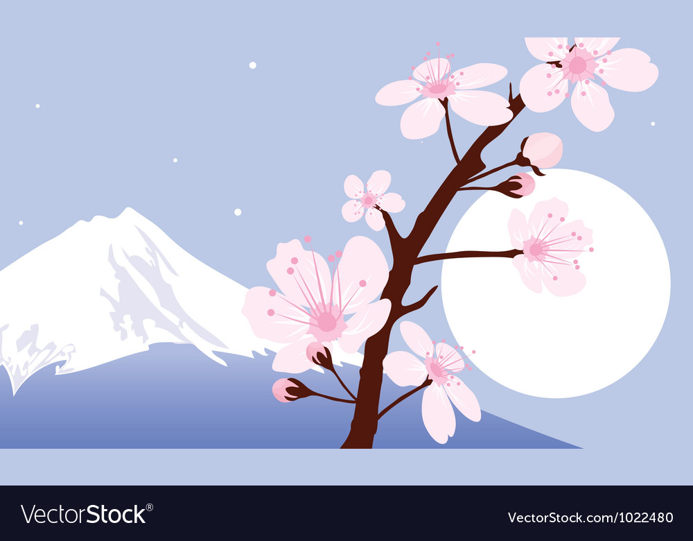 Mount Fuji moon and branches of sakura