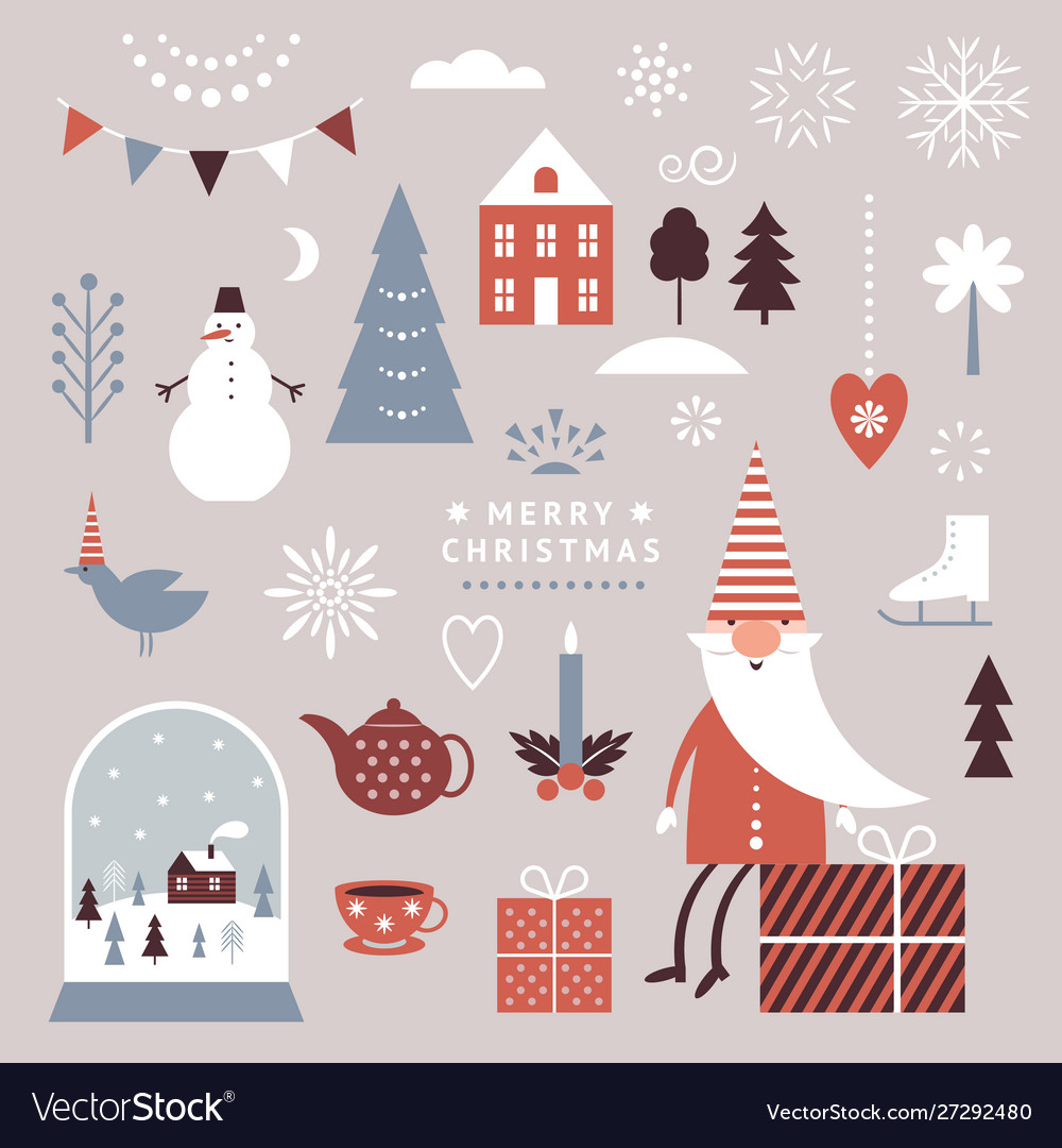 Set christmas graphic elements winter