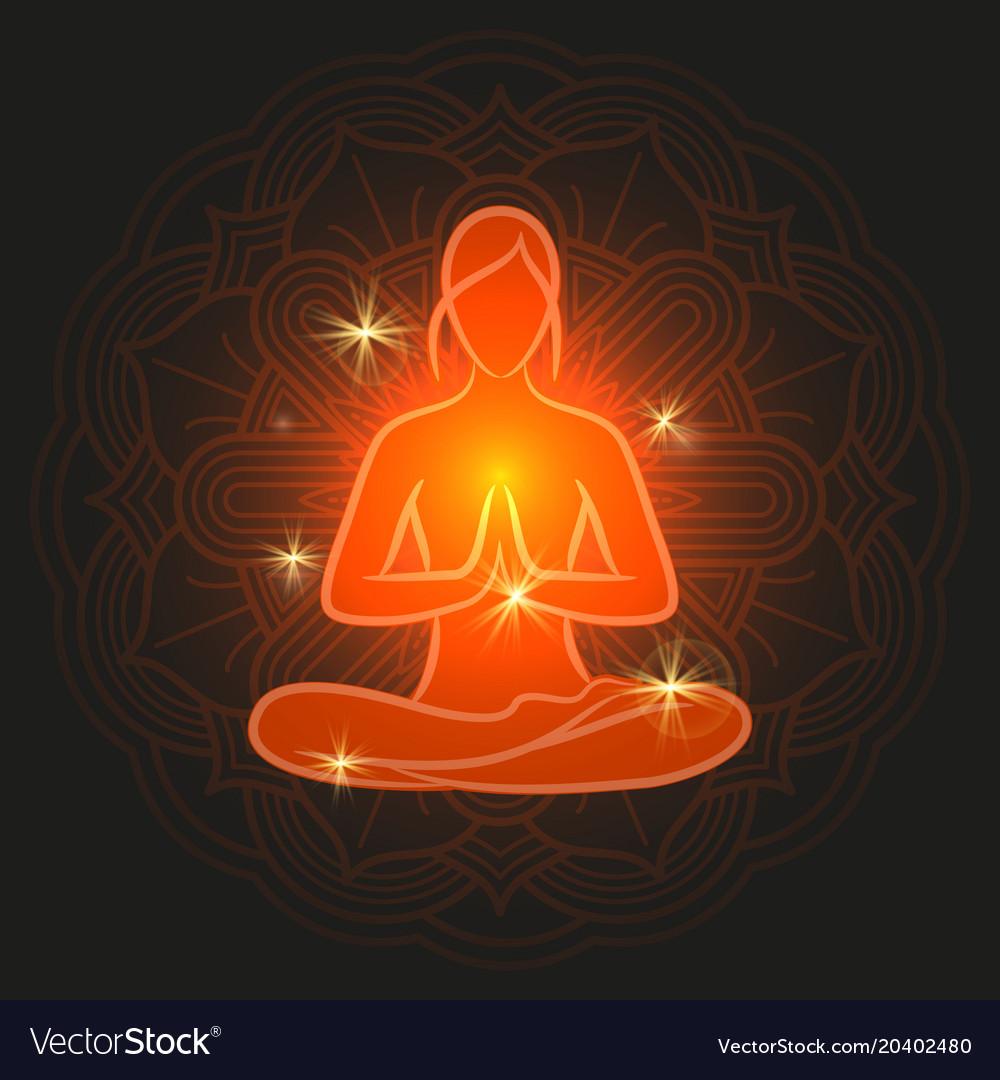 Shine meditation silhouette with flower mandala
