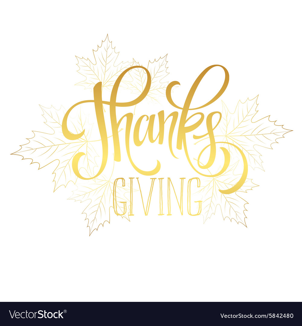 Thanksgiving - gold glittering lettering design