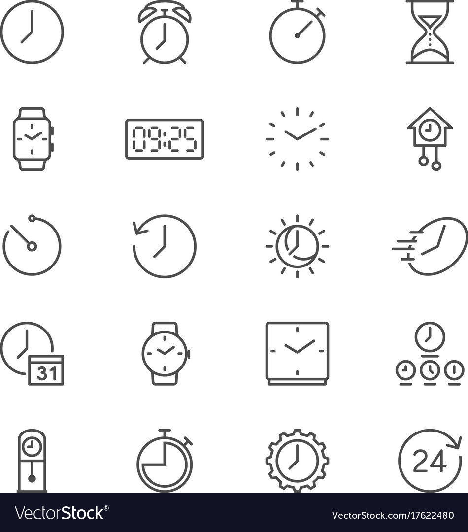 Time and clock thin icons