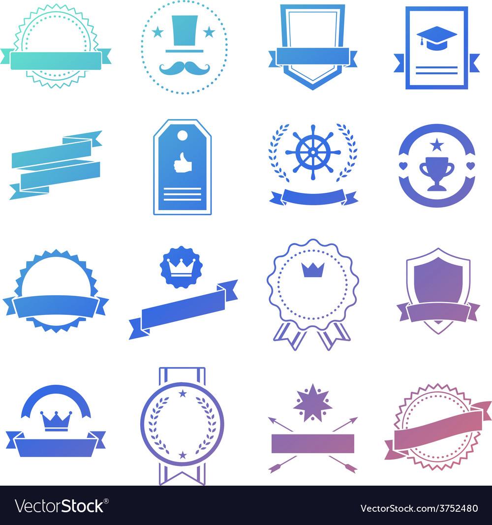 Vintage retro flat badges labels signs symbols