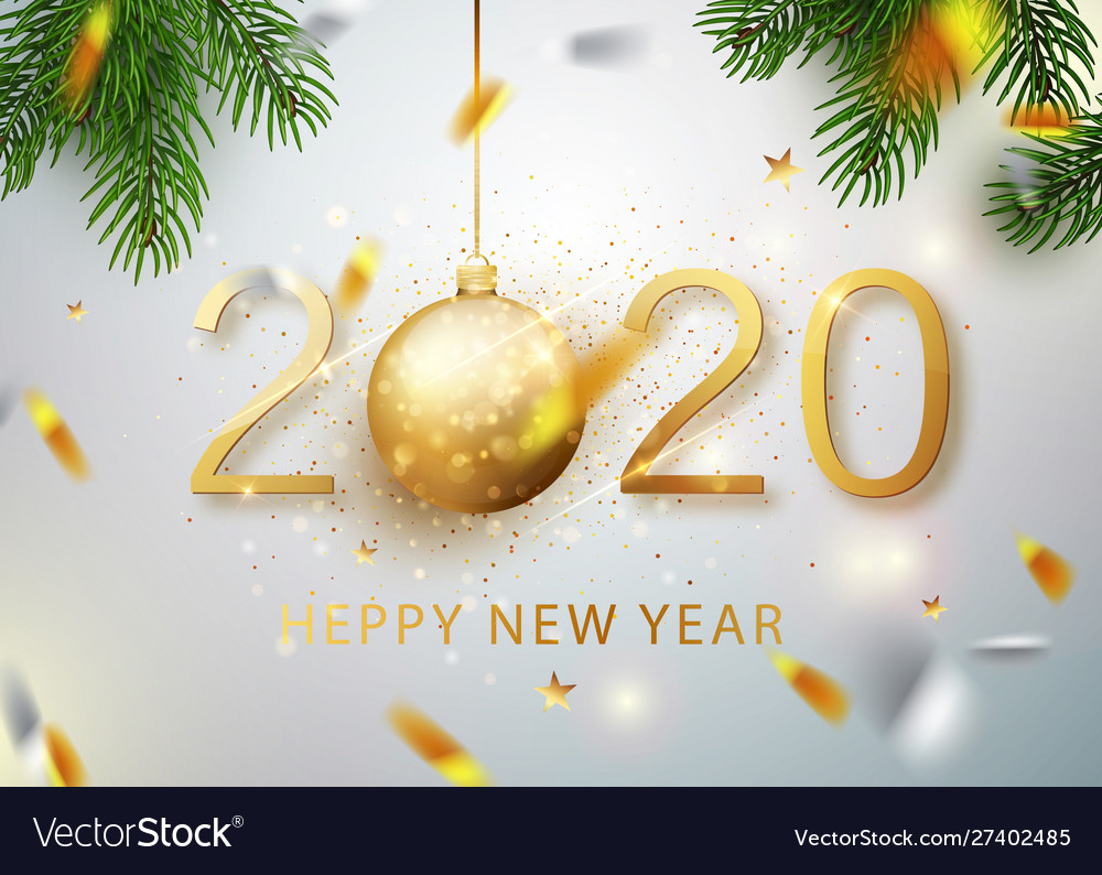 2020 happy new year gold numbers design of