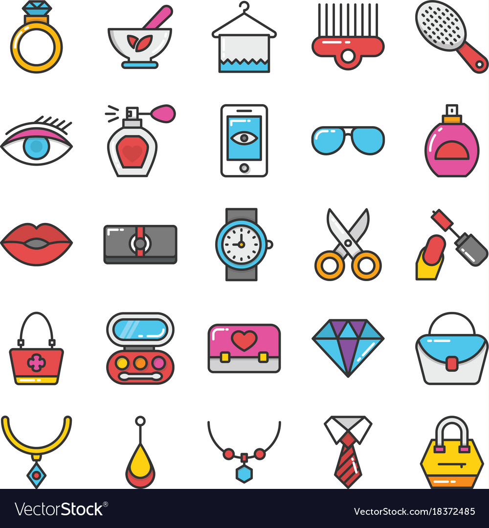 Beauty and fashion colored icons set 2