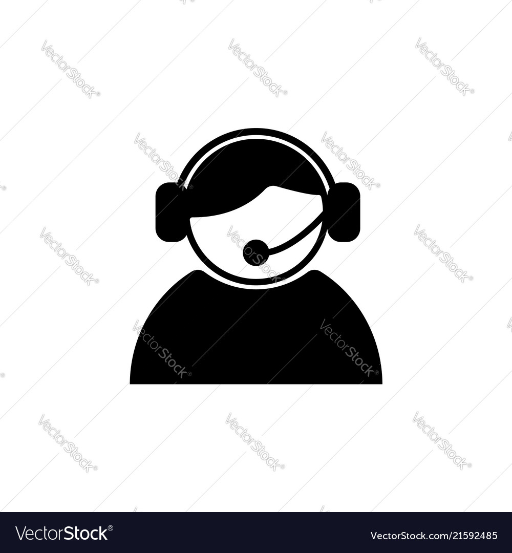 Call center operator with headset black on white