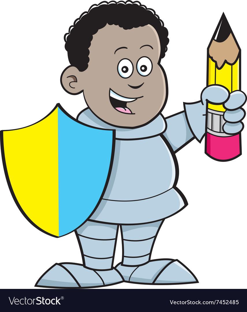 Cartoon African boy dressed as a knight