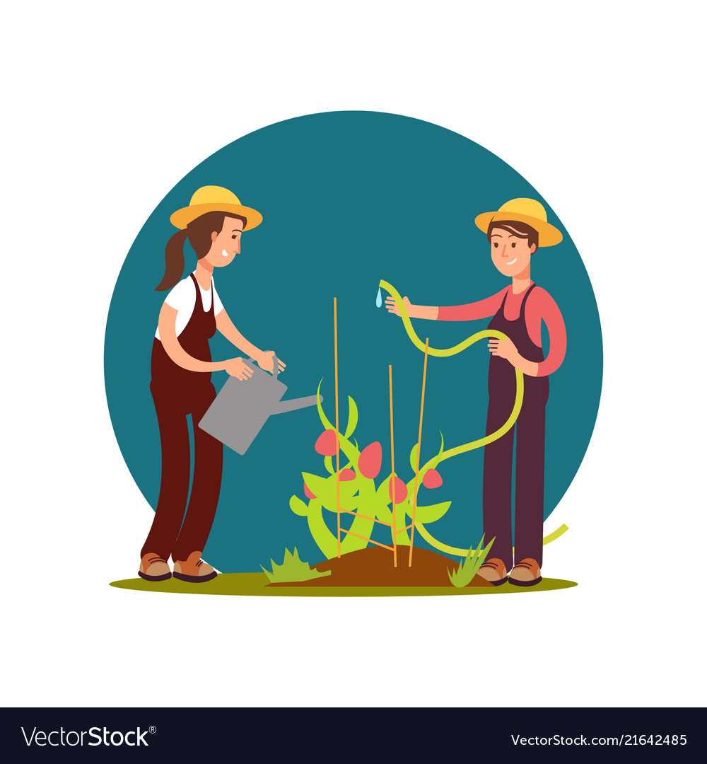 Cartoon character farm girls watered flowers
