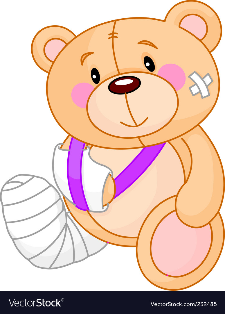 Cartoon sick teddy bear