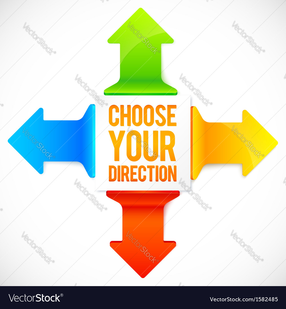 Colorful four directions arrows set vector image