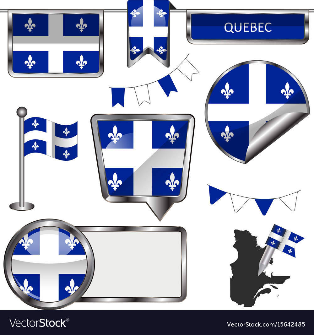 Glossy icons with flag of province quebec vector image