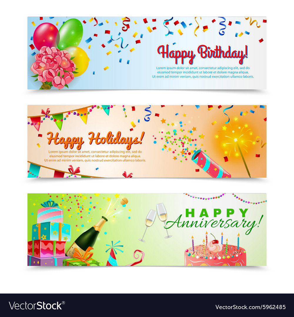 Happy birthday anniversary celebration banners set vector image