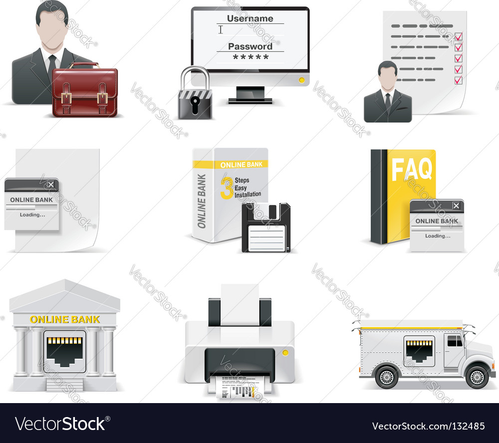 Online banking icon set vector image