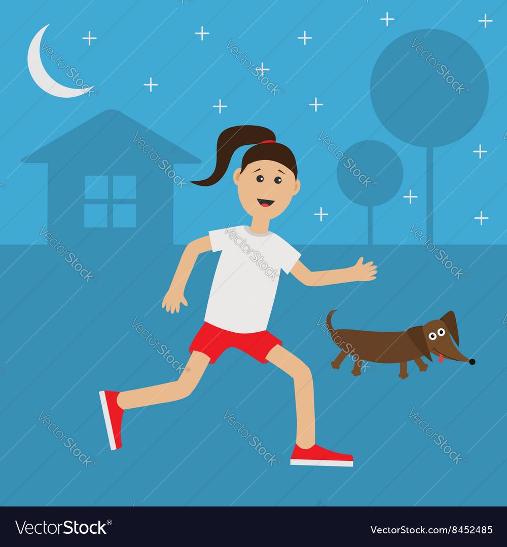 Running girl Dachshund dog Cute run woman Night