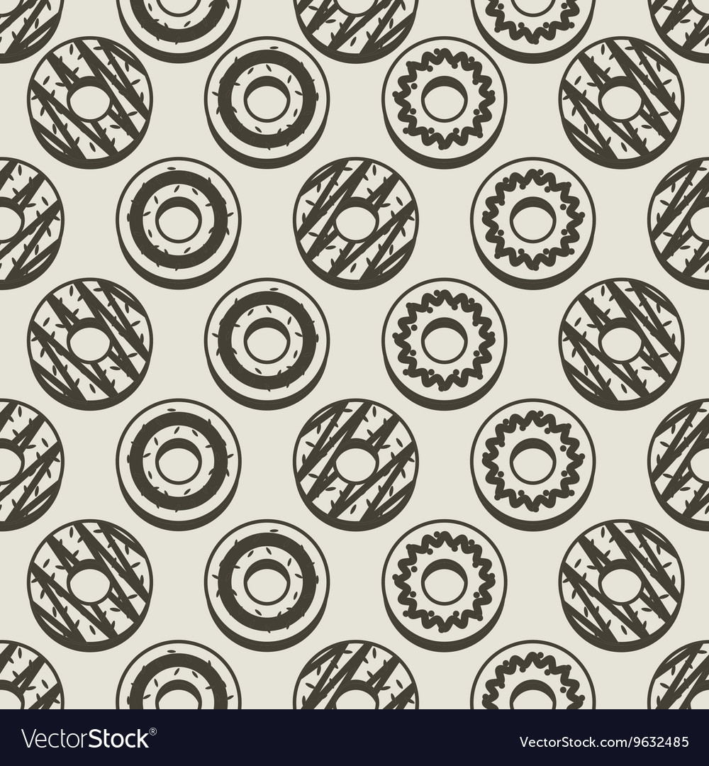 Seamless Pattern Black And White Donuts Background