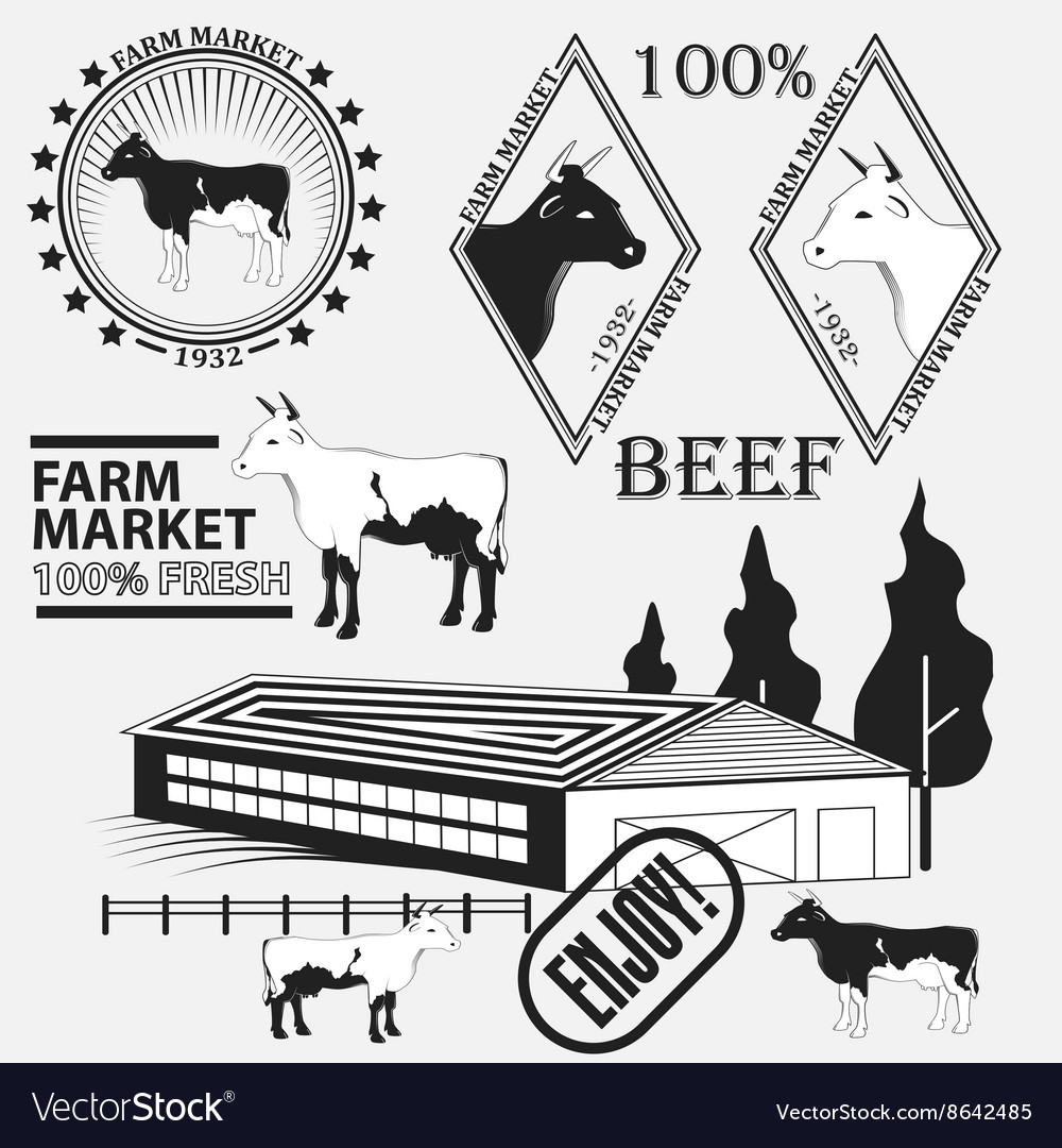 Set of premium beef labels badges and design