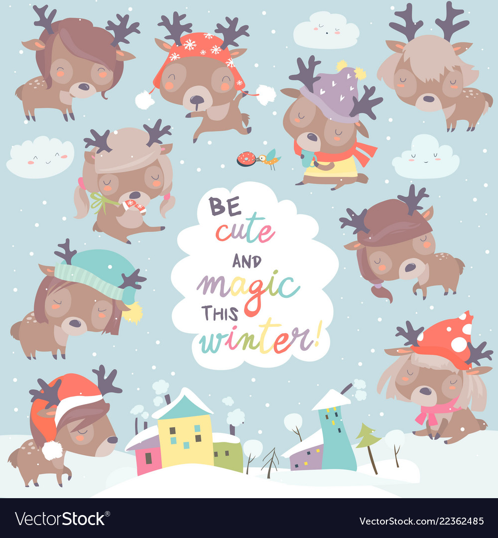 Set with cute little deers on winter background vector