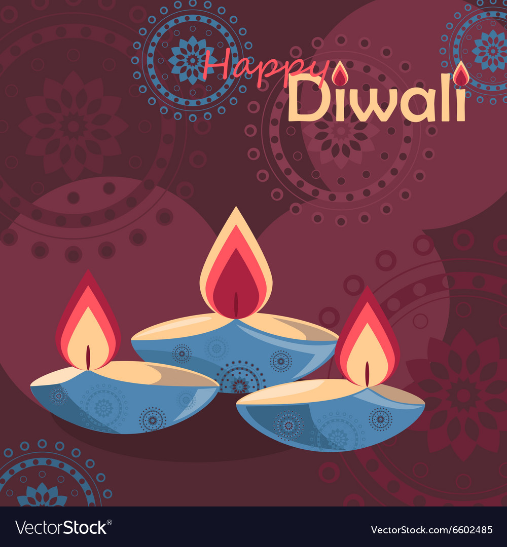 Three burning diya on Diwali Holiday background