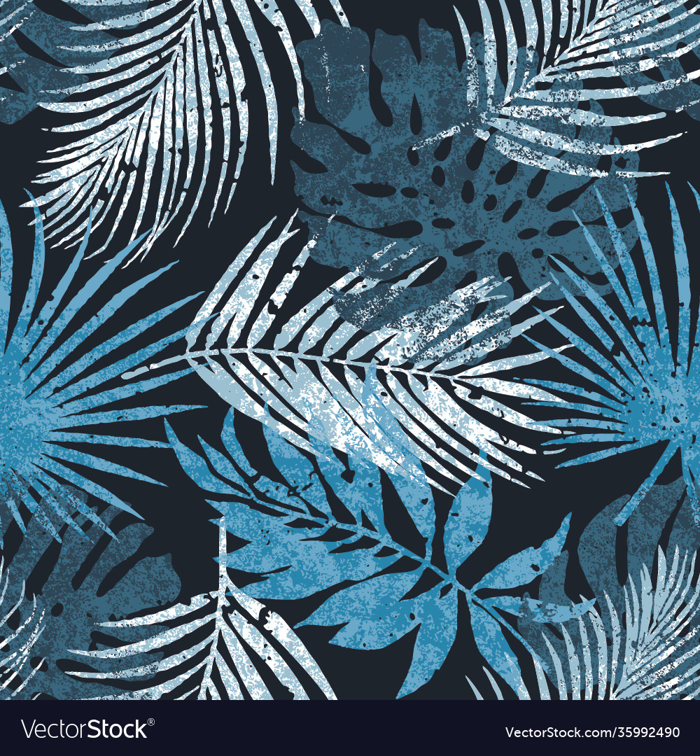 Abstract tropical palm leaves silhouette