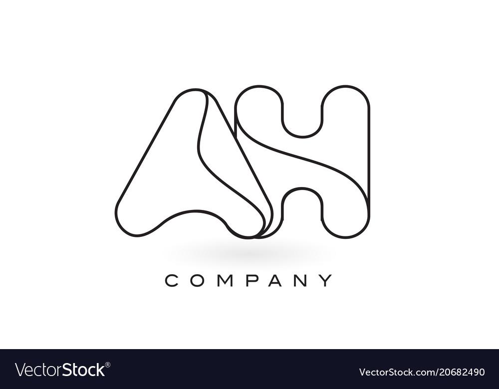 Ah monogram letter logo with thin black monogram