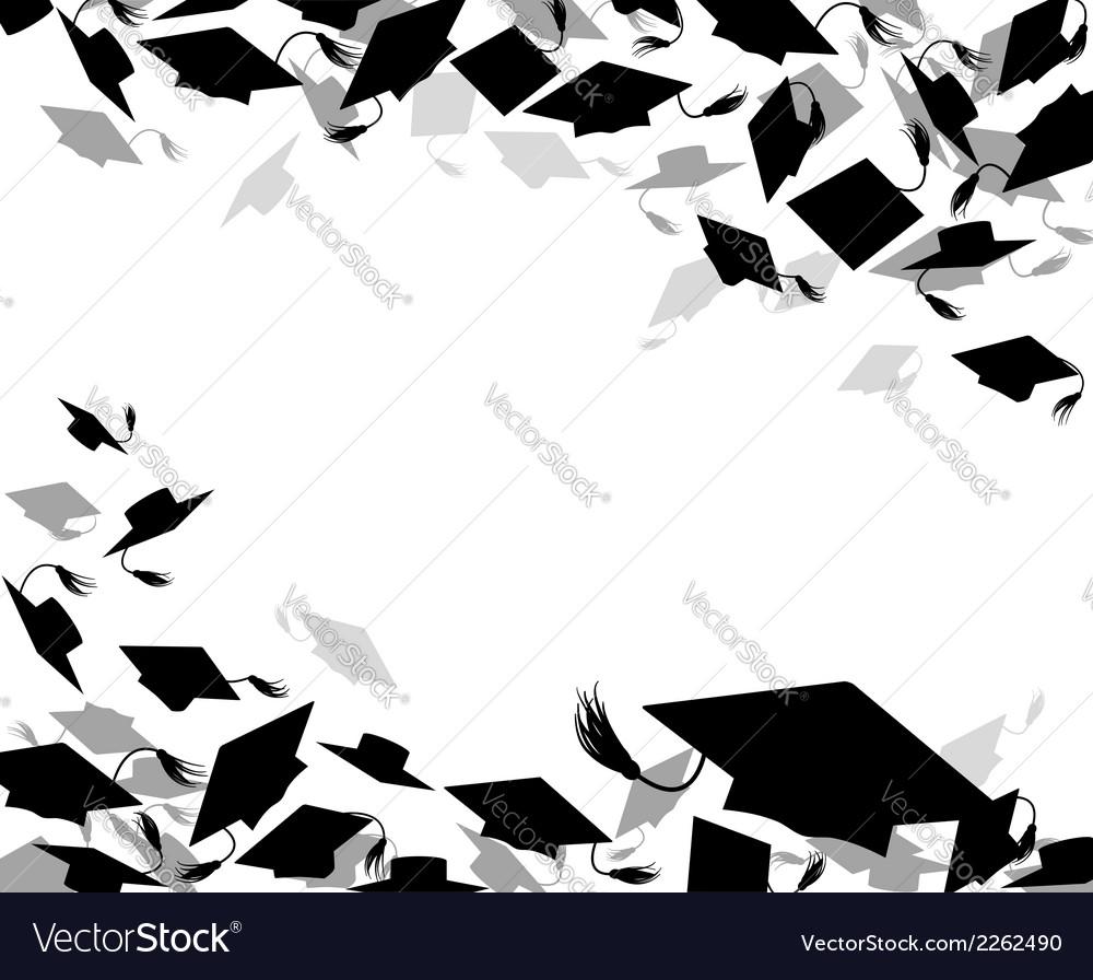 Background of graduate caps vector image