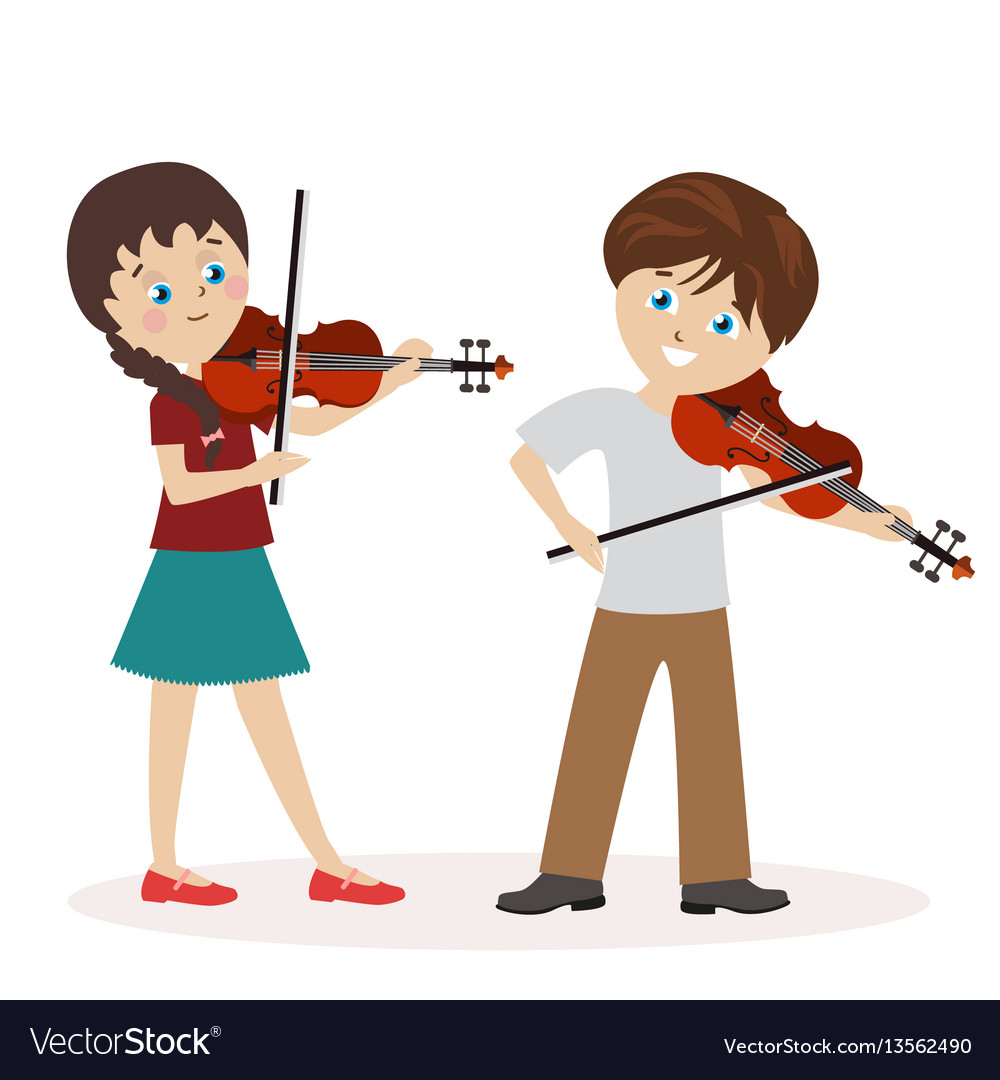 Boy and a girl are playing the violin music