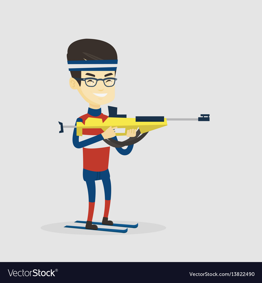 Cheerful biathlon runner aiming at the target