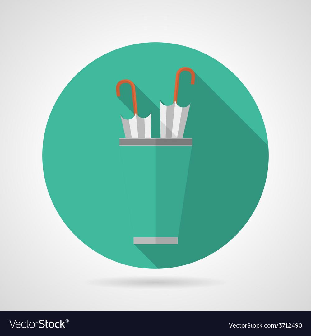 Flat color umbrella stand icon vector image