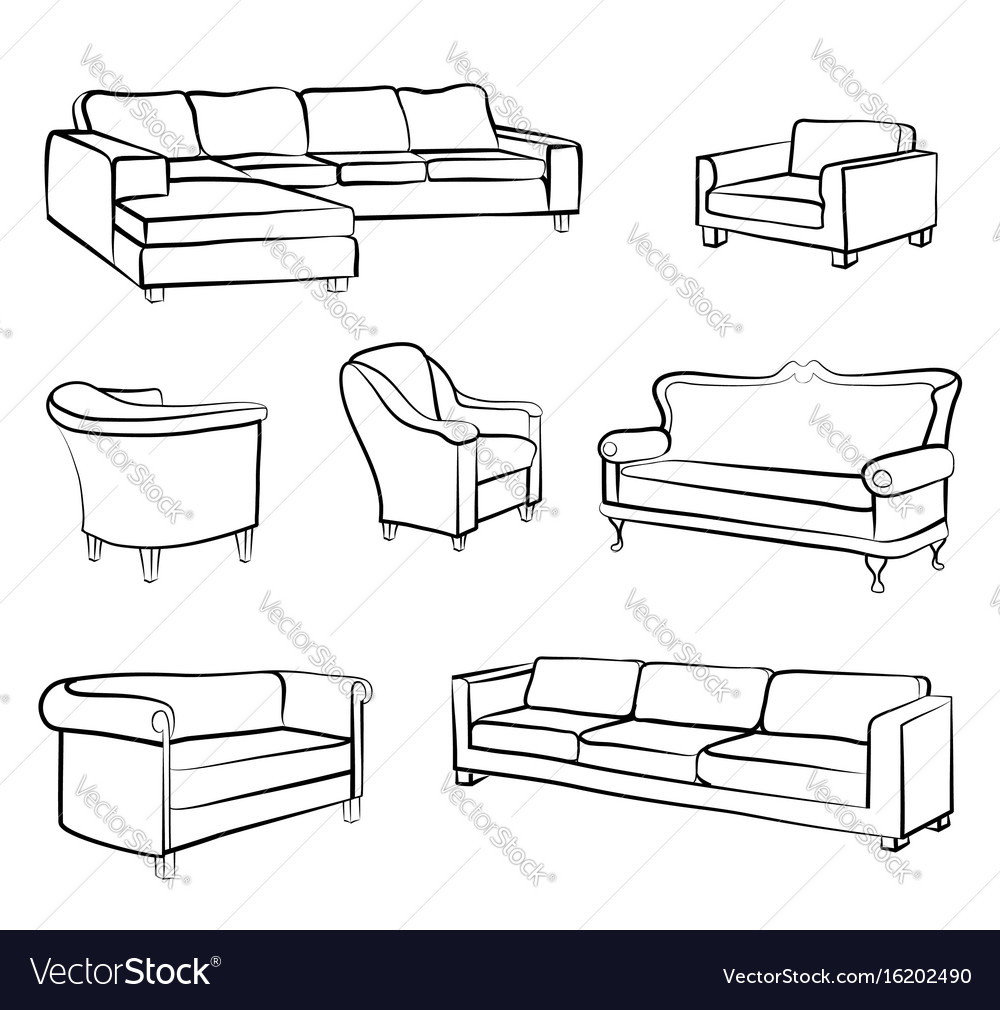 Furniture Set Interior Room Furnishing Bed Sofa Vector Image