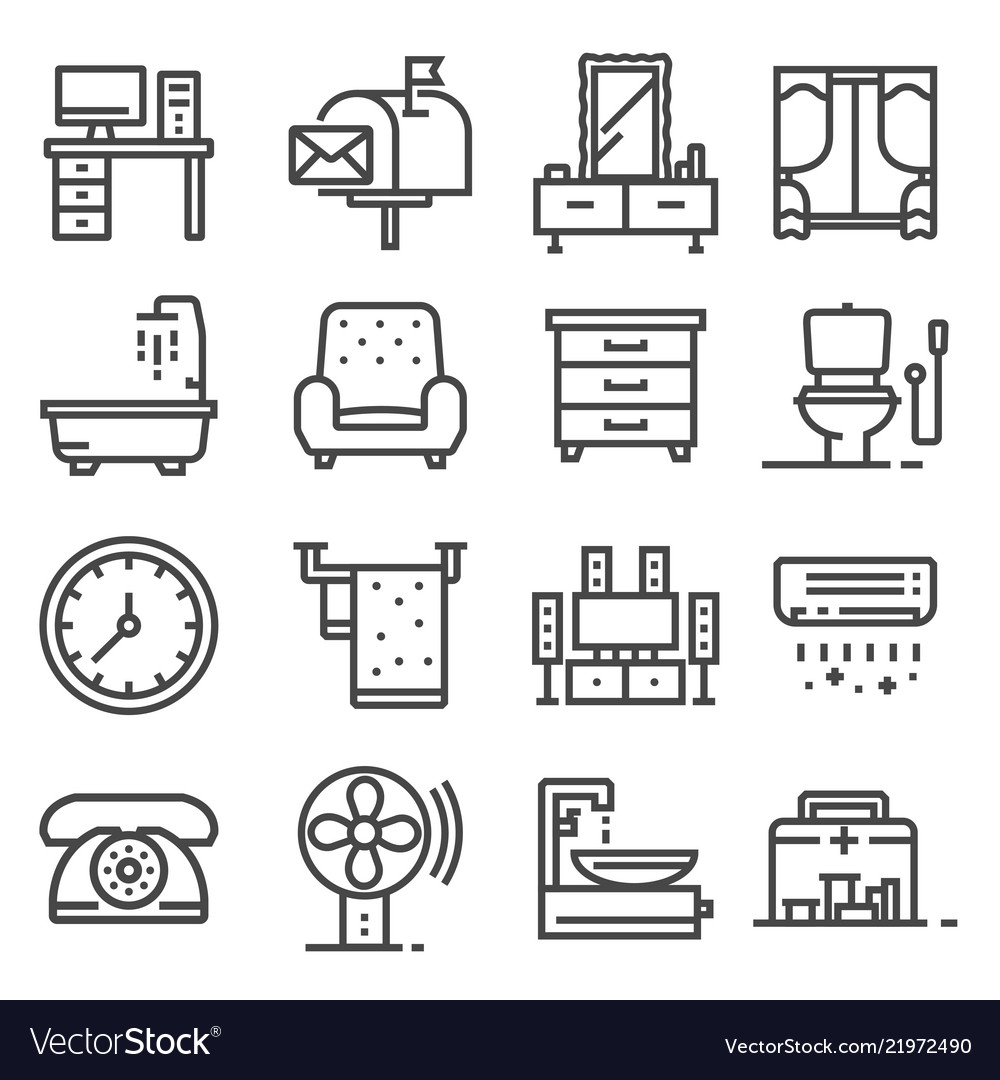 Gray line house furniture icons set