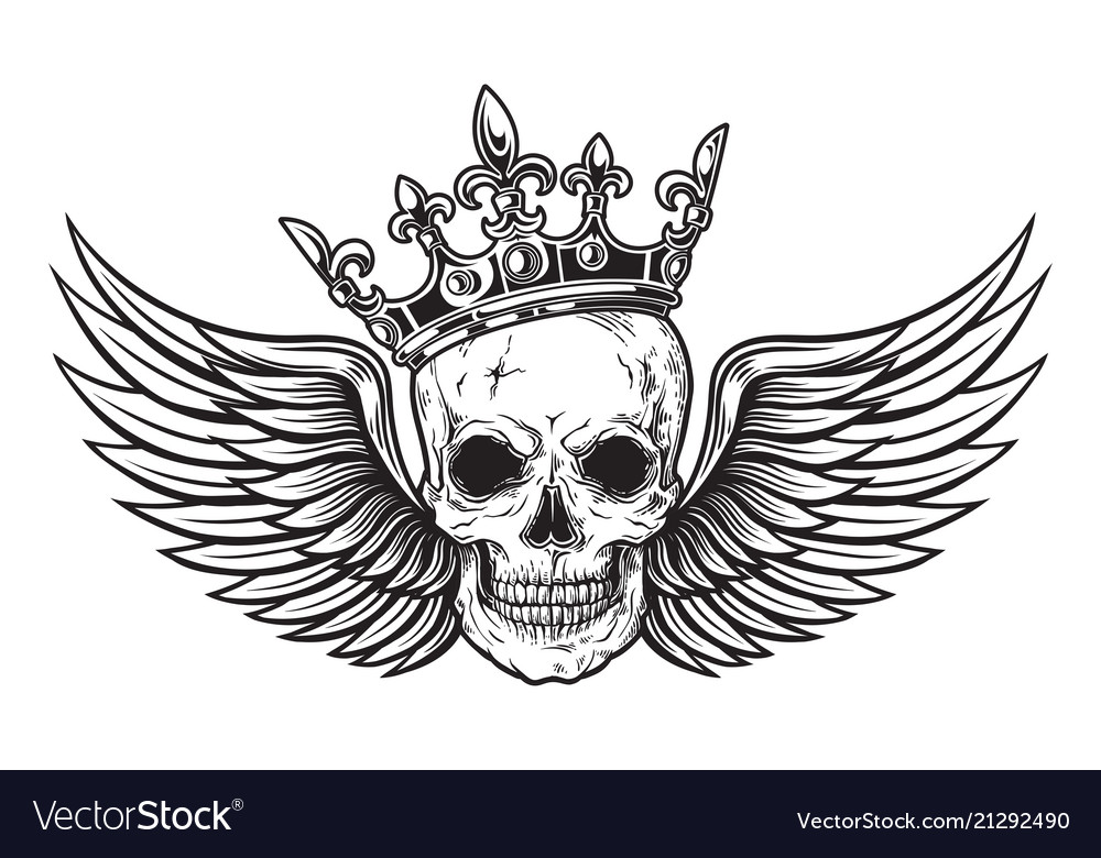 Human skull with wings and crown for tattoo design