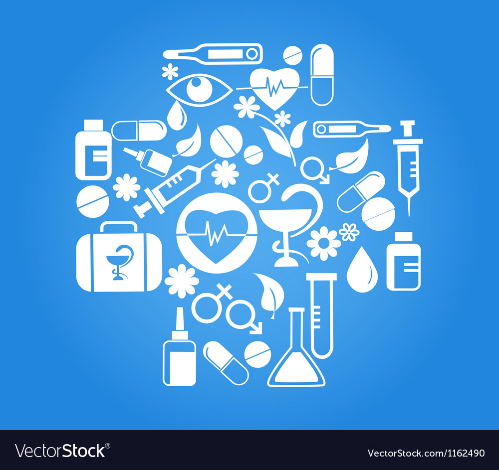 Medical cross with health icon set on blue