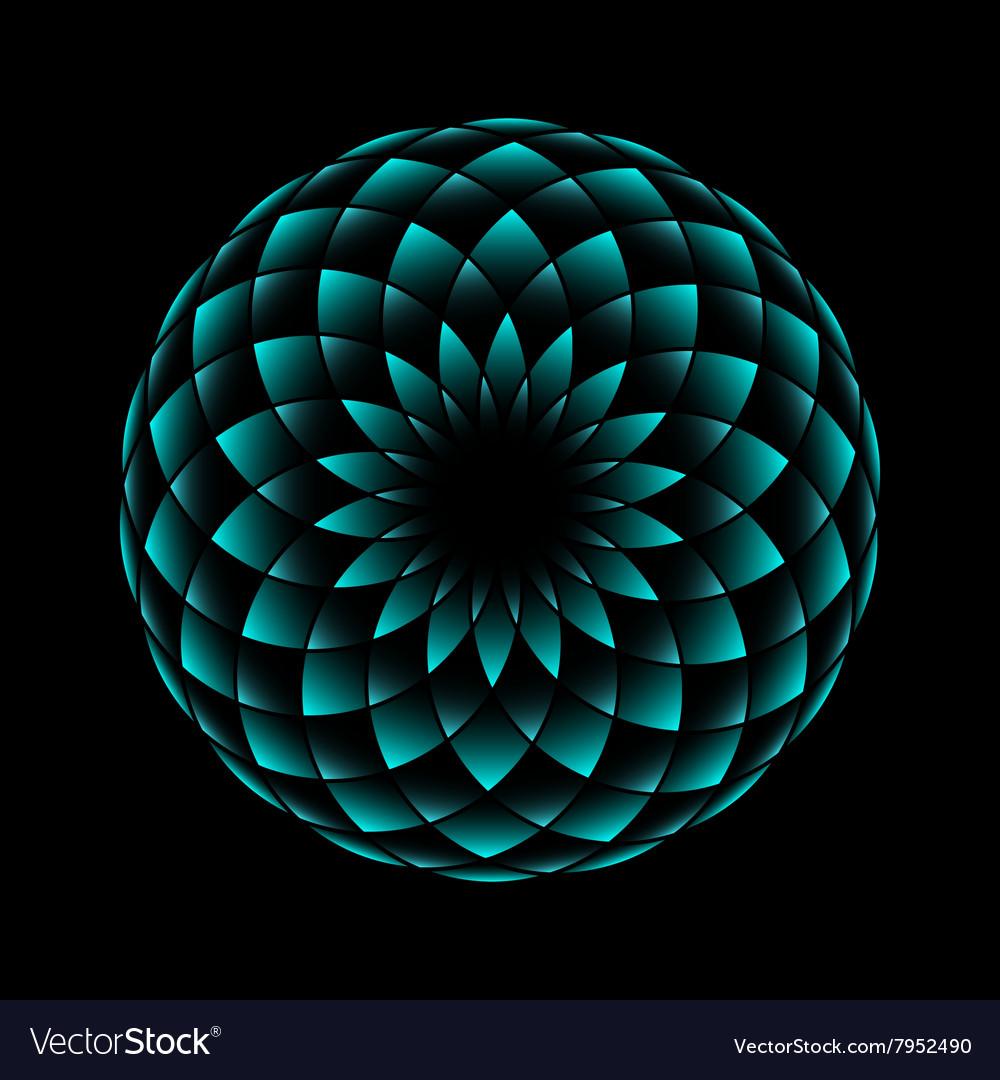 Neon flower geometrical sign