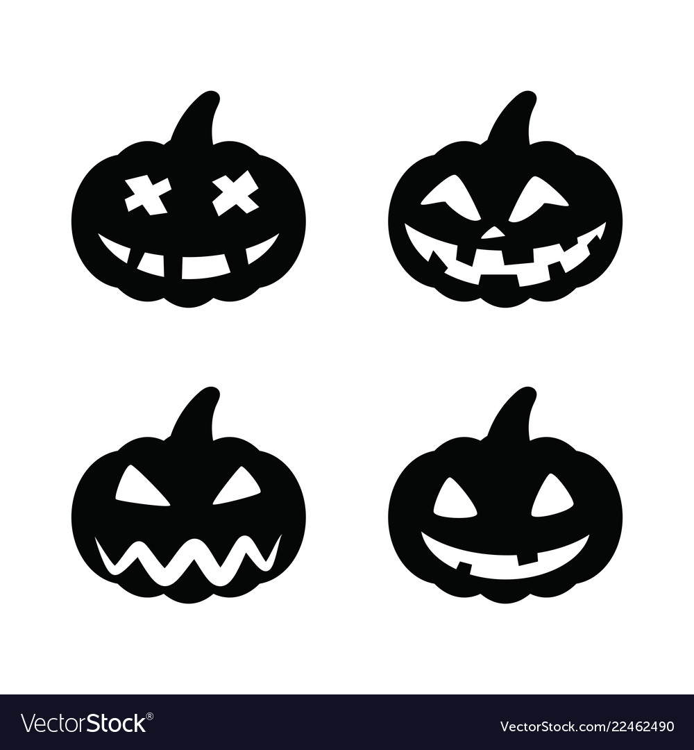Set black pumpkins for halloween isolated on white