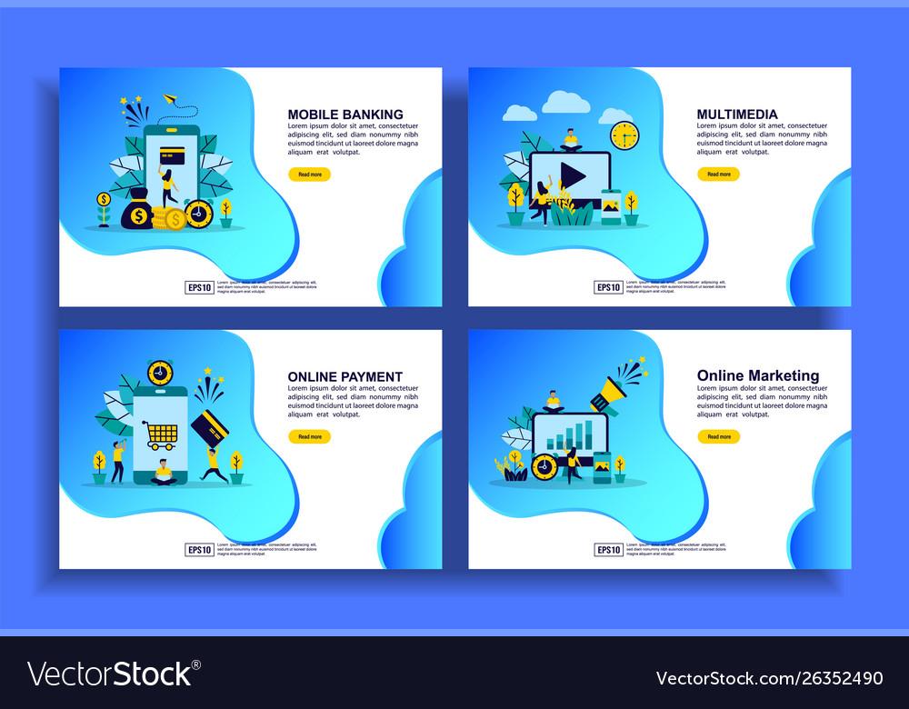 Set modern flat design templates for business