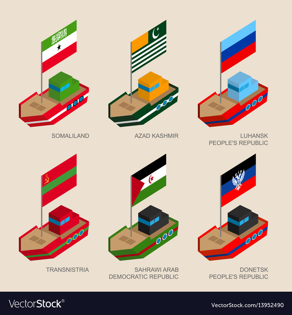 Set of isometric ships with flags
